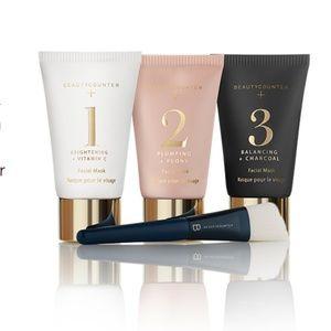 NWOT Beautycounter Multi-masker set w/ brush